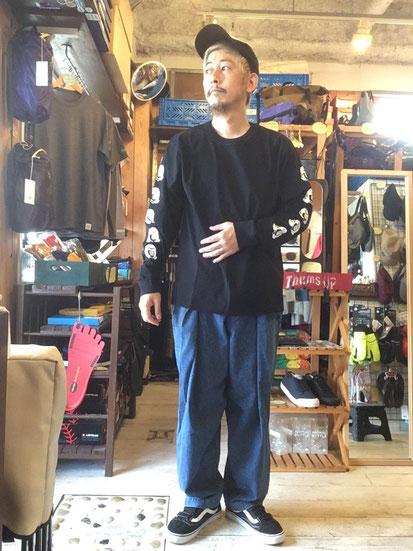 ※172㎝64㎏体型でサイズ「L」着用(Black)