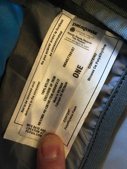 メインポケット内インナー製品タグ