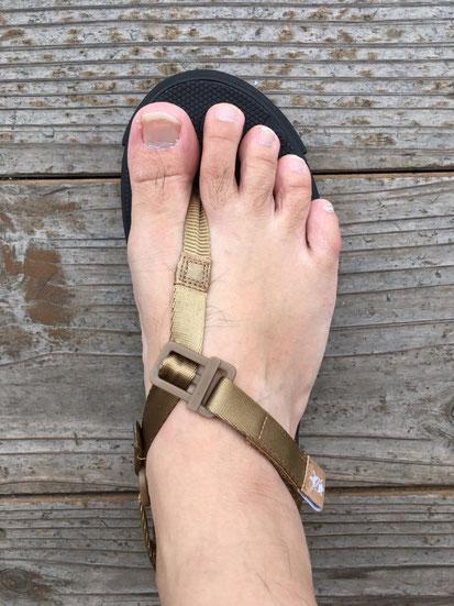 足の実寸サイズ(26.0㎝)でUS 7(25㎝)を履いた場合のサイズ感