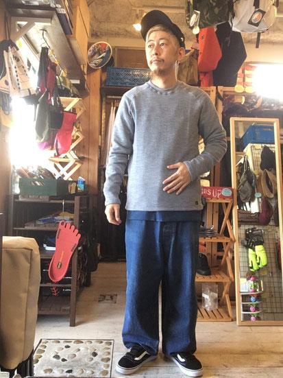 ※172㎝65㎏体型でサイズ「M」着用(Heather Blue)