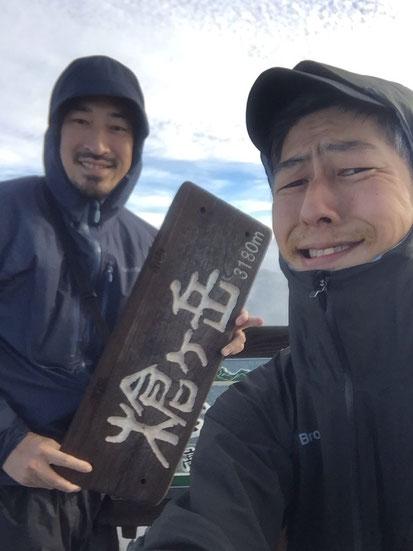とうとう槍ヶ岳(3180m)登頂ー!!奇跡的に晴れてきた!!