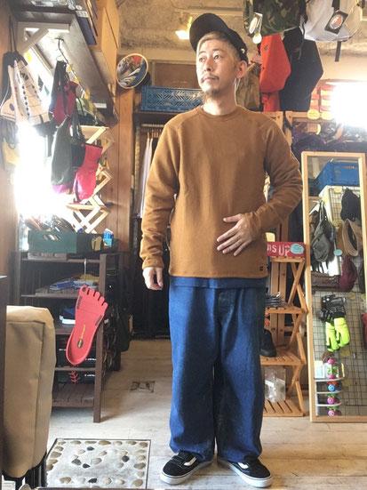 ※172㎝65㎏体型でサイズ「L」着用(Orange Brown)