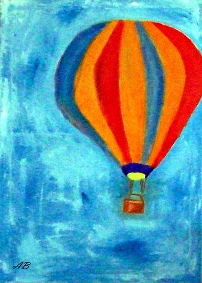 Heißluftballon am Himmel, Ölgemälde, Heißluftballon, Sommer, Landschaftsbild, moderne Malerei, Ölbild, Ölmalerei, Wandkunst