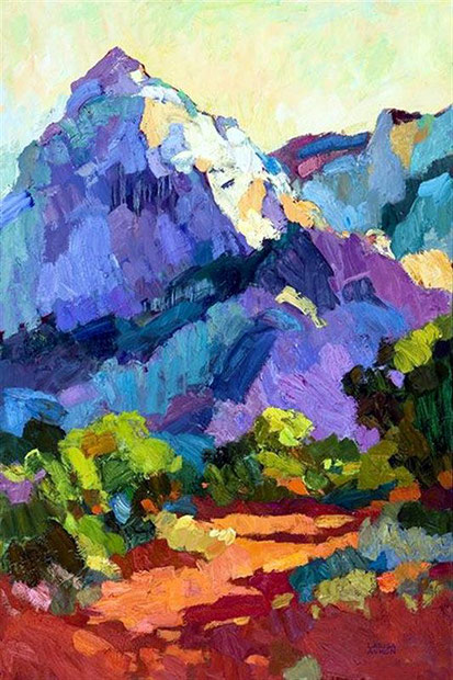 Painting of a mountain, love the colours-httpwww.lovettsgallery.com