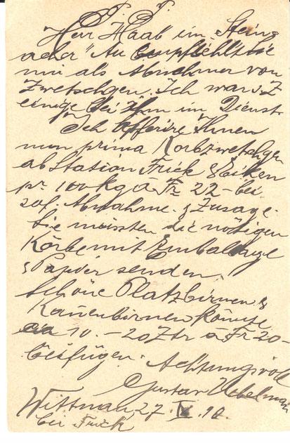 Handelsangebot: Gustav Uebelmann hat Zwetschgen und Birnen anzubieten. (Archiv chb)