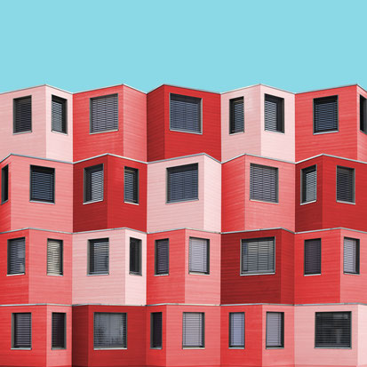Studentendorf adlershof Studentenheim Berlin die Zusammenarbeiter Architekten colorful modern architecture photography inspiration design red blue