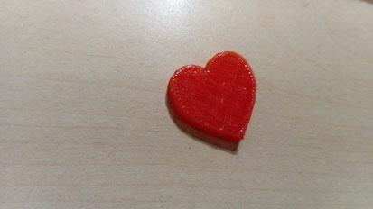 Le coeur réalisé à l'aide de l'impression 3D.