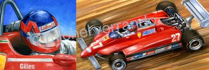 Gilles Villeneuve art automobile peinture illustration verrando