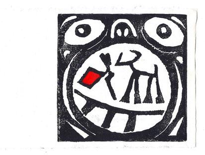 LA FAIM DU TORERO : Linogravure d'Hervé Di Rosa pour La Faim du torero de Joël Jacobi (Editions Luis Casinada)