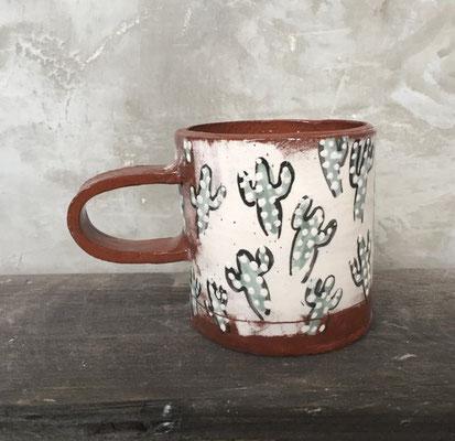 cactus, mug, brown, white, green