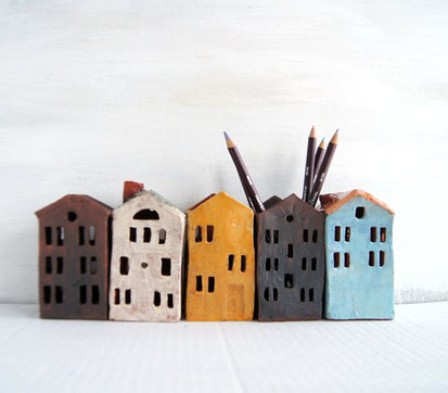 Pencil, holder, houses, brown, white, blue, yellow