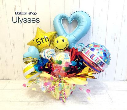 周年祝い キャンディブーケ バルーンアート スマイルバルーン