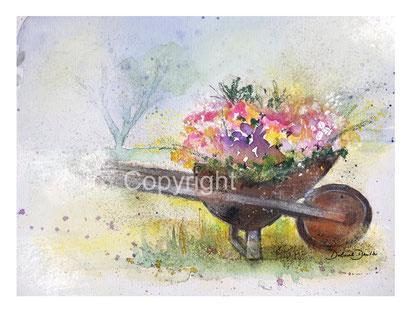 Schubkarren mit Blumen