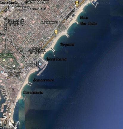 Схема пляжей Барселоны