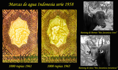marcas de agua serie 1000 rupias Indonesia 1958