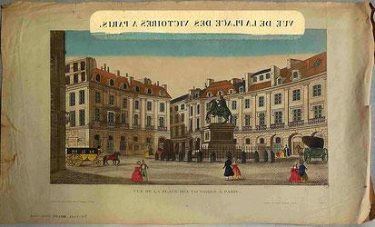 La Place des Victoires à Paris / Musée Boucher-de-Perthes /Le titre supérieur a été grossi pour montrer l'inversion
