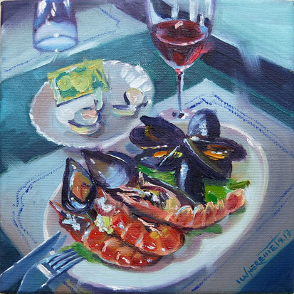 still life oil painting red wine scampi prawns