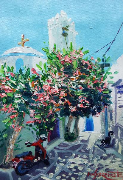city scape paros greece oil painting