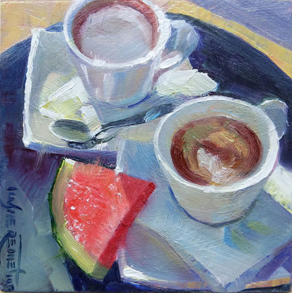 still life coffee watermelon greece oil painting sunny