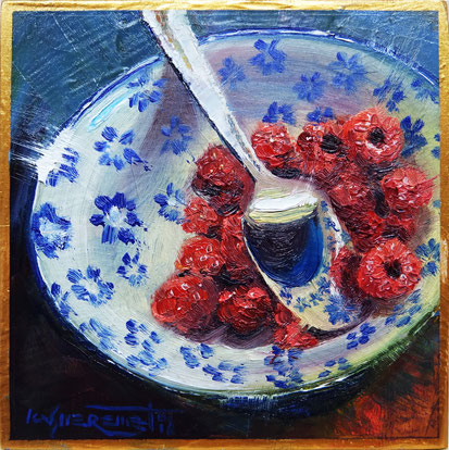 still life oil painting raspberries in a bowl