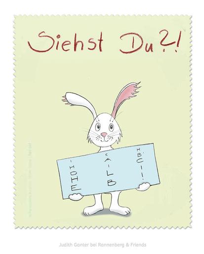 Ich hab dich lieb! Hase Liebe Sehtest - Für Verliebte - Text und Bild Judith Ganter bei Rannenberg & Friends - Judith Ganter bei Rannenberg & Friends - Brillenputztücher Humor, Geschenke Brillenträger, Mitbringsel Brillenträger