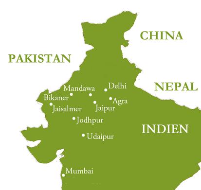 Reiseroute Mumbai, Delhi, Agra und die Perlen Rajasthans