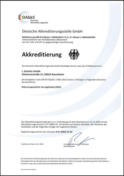 Urkunde der DAkkS bestätigt die Kompetenz nach DIN ISO/IEC 17025:2005 im Bereich EMV