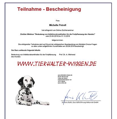 Bedeutung von Infektionskrankheiten für die Fortpflanzung des Hundes - erfolgreich bestanden ;-)