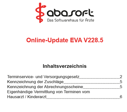 abasoft EVA Praxissoftware Arztsoftware Release Notes Update Software Arzt
