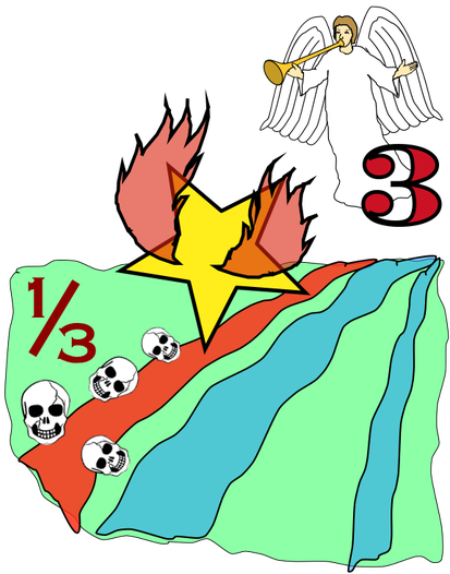 Lorsque le troisième ange sonne de la trompette, une grande étoile qui brûle comme un flambeau tombe sur le tiers des fleuves et sur les sources d'eau. Le tiers des eaux est alors changé en absinthe et beaucoup d'hommes meurent à cause de ces eaux amères.