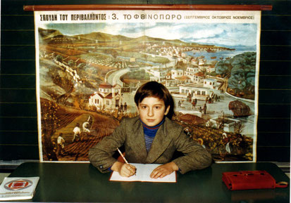 Der Schüler Christos Mantzios in der griechischen Grundschule, Goetheschule Wiesbaden-Biebrich, 3. Klasse im Jahr 1975