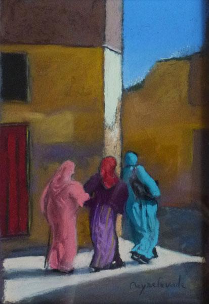 Femmes marocaines, pastel 26x18, médina, maroc