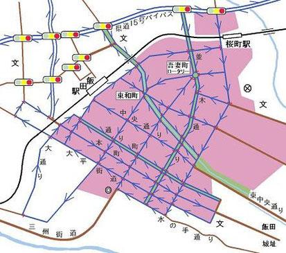 飯田市旧市街の交通規制の案