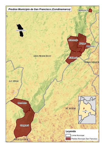 Mapa 1. Fincas y reservas naturales donde se están implementando los arreglos forestales.