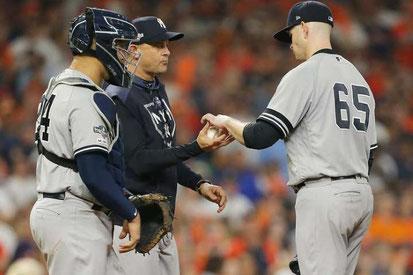 Nella foto James Paxton, gara di lunedì, sostituito dopo 2, 1/3  di inning lanciati ( by Entercom Radio, LLC)