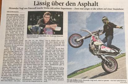 Motorrad, Stunt, Show, Zeitungsartikel, Weilheimer Tagblatt, Bayern, Supermoto