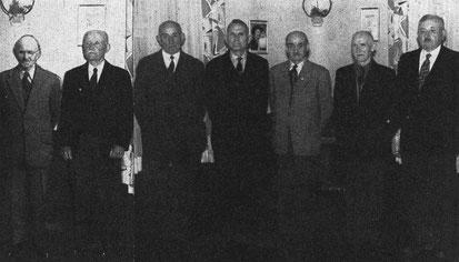v.l.: Hermann Fleck, Peter Löw, Wilhelm Ochs, Ardolf Hardt, Otto Müller II, Albert Götz und Heinrich Christmann.
