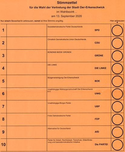 Stimmzettel zum Stadtrat 2020 - Wahlbezirk 02