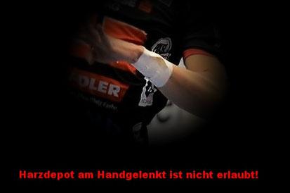 Lt. Regelwerk sind Harzdepots am Handgelenk nicht erlaubt