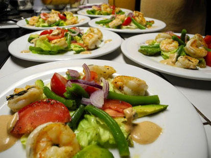 Mixed salad plates with shrimp