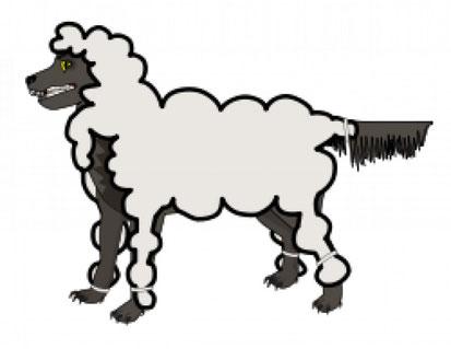 Zeichnung: Wolf im Schafspelz
