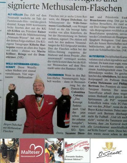 Kölner Stadtanzeiger 2018 Willi Ostermann Versteigerung Maritim Köln Weingut O. Schell Ahr