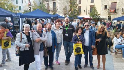 D'esquerra a dreta: Teresa Calabús, Eusebi Ayensa, Jaume Torrent, Ester Marcos Jordà, Miquel-Àngel Codes (director LiberisLiber), Mixa, Ramon Moreno (Edicions Cal·lígraf) i Montse Castaño