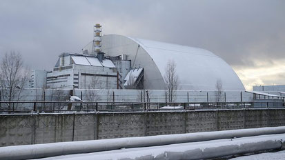 Cúpula de protecció sobre el reactor 4, construïda el 2016