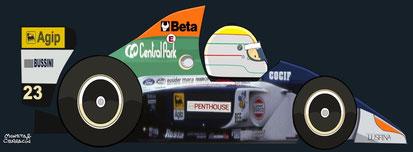 Pierluigi Martini by Muneta & Cerracín - Pierluigi Martini del Minardi F1 Team con un Minardi M191 Ferrari V12