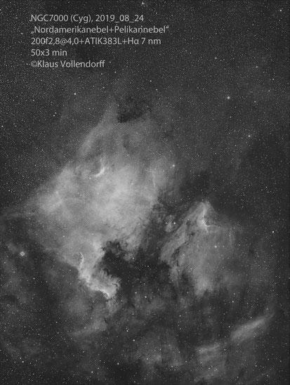 Nordamerikanebel NGC7000 und Pelikannebel IC5080 im Sternbild Cynus (Schwan) mit CANON 200 f2.8+ATIK383+Hα 7nm