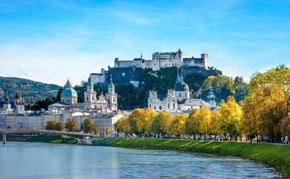 Salzburg mit Salzach und Festung