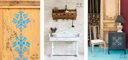 Auf dem Foto sieht man Möbel, auf die mit Annie Sloan Stencils schabloniert wurde. Es wurde die Annie Sloan Chalk Paint benutzt.