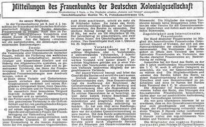Bericht vom Beitritt des Frauenbunds zum BDF. Bild aus: Kolonie und Heimat 1910-11, No. 42, S. 8; Kopie.