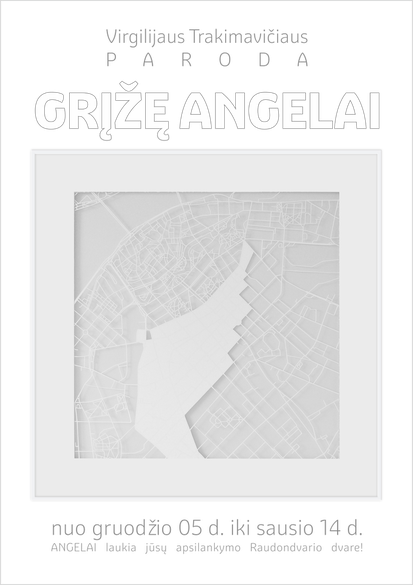 "The promotional poster for the paper cutting exhibition ""Grįžę Angelai"""